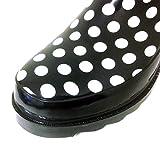 New Women's Black Short Ankle Rubber Rain Boots Garden Fashion Snow Boots (10 B(M) US, Black Polka Dots)