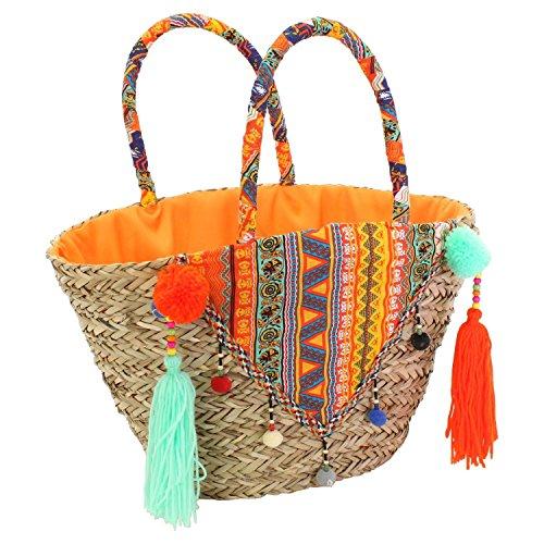 Playa Ch De Trading Materiales amp; M Moderna Bolso Natural Borlas qqWZaEO