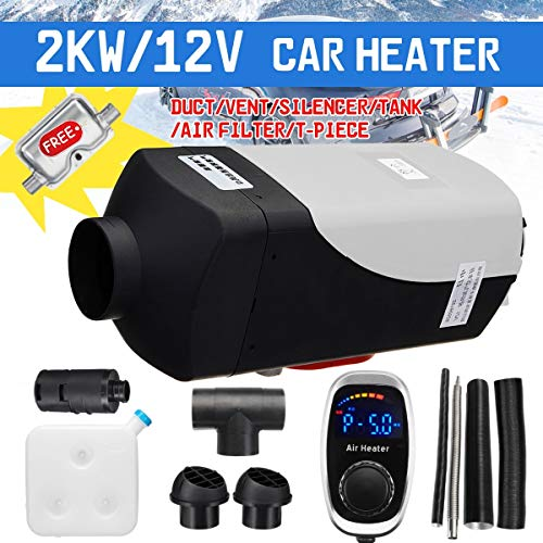 Heating & Fans - New 12V 2000W Air diesels Fuel Heater Single Hole 2KW For Boats Bus Car Heater Remote Control Digital knob Switch With Silencer
