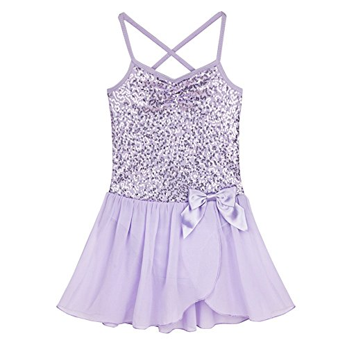 Freebily Girls Shiny Sequined Camisole Leotard Athletic Ballet Tutu Dress Dancewear Lavender -
