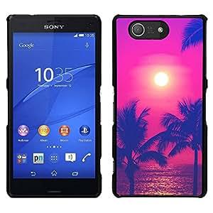 // PHONE CASE GIFT // Duro Estuche protector PC Cáscara Plástico Carcasa Funda Hard Protective Case for Sony Xperia Z3 Compact / Sun Hot Summer Sea Purple /