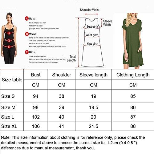 los la Las Vestidos Casuales Corta V Cuello Vestidos Bolsillos Corta Vestidos de de Verano de Camiseta DEFOV Vestidos Casual Negro de Mujeres hasta de Manga de Rodilla Manga gIUxq