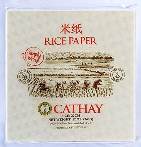 Cathay Fresh Roll Wrappers, Spring Rolls Rice Paper, 22 CM Squares, 30 Sheets, Gluten Free, Non-GMO, Thin Wraps, Tapioca Papers, Vegan, Low Carb, Vietnamese, Summer Wrap, For Veggie, Vegetable
