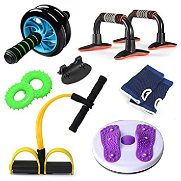 7aa45e2ab GG Two-wheel power roller push-ups wheel pull rope Twister fitness  equipment Home Family Pack 6 piece set  Amazon.co.uk  Sports   Outdoors