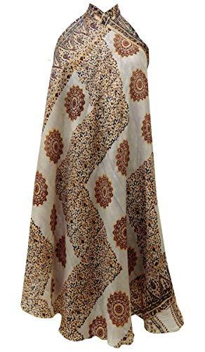 Indianbeautifulart Les Femmes Check Imprimer Pure Soie Vintage Saree rversible Rouge Wrap Summer Beach Dress Maroon & Gold