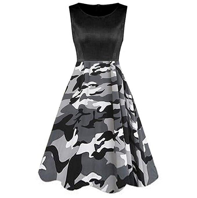 b6b622c5ebd5 Amazon.com: Zackate Womens Vintage Sleeveless Midi Dresses Ladies Dress  Printed Camo Printed Tunic Tank Dress: Clothing