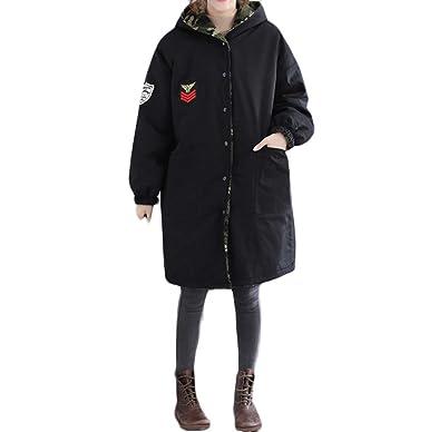 Logobeing Chaquetas Mujer Tallas Grandes Ropa Abrigo de Invierno Impresión de Camuflaje Chaqueta Larga y Suelta