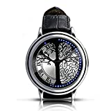 KitMax (TM) Unisex Touch Screen Tree of Life Mirror Automatic Digital LED PU Leather Band Sport Wrist Watch