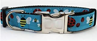 """product image for Diva-Dog Lady Bugs & Bumble Bees Custom Engraved Dog Collar ~ Teacup, XS/S, M/L, XL (M/L 16"""" - 24"""" x 1"""")"""