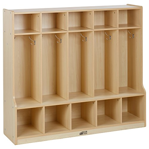 ECR4Kids Colorful Essentials 5-Section Coat Locker with Cubbies and Bench, Maple