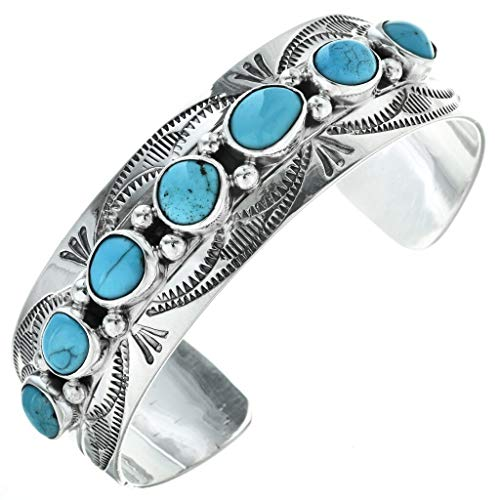 Sleeping Beauty Turquoise Silver Cuff Navajo Ladies Bracelet 3515