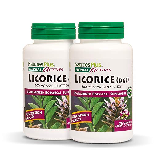 Natures Plus Herbal Actives Licorice (DGL) Capsules (2 Pack) - 500 mg, 60 Vegan Supplements - Maximum Potency, Anti inflammatory, Stomach Reliever - Vegetarian, Gluten Free - 60 Servings ()