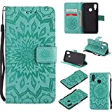 Huawei P20 Lite Case Emboss Sun Flower PU Leather Wallet ID & Credit Card Slots Magnetic Folio Cover (Huawei P20 Lite, Green)