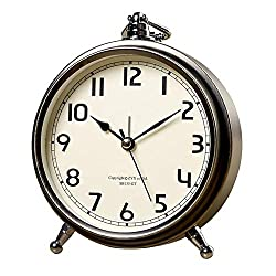 Vintage Decorative Small Desk Clocks for Bedroom/Living Room/Kitchen/Office/Classroom (Gold)