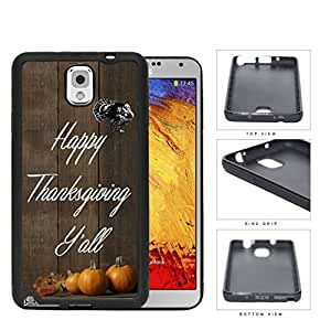 Happy Thanksgiving Y'All Wood Fence Pumpkin Rubber Silicone TPU Cell Phone Case Samsung Galaxy Note 3 III N9000 N9002 N9005