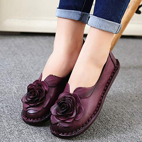 sole pregnant retro shoes shoes women flowers handmade shoes single soft shoes work comfortable A Leather FLYRCX FpqYt7O