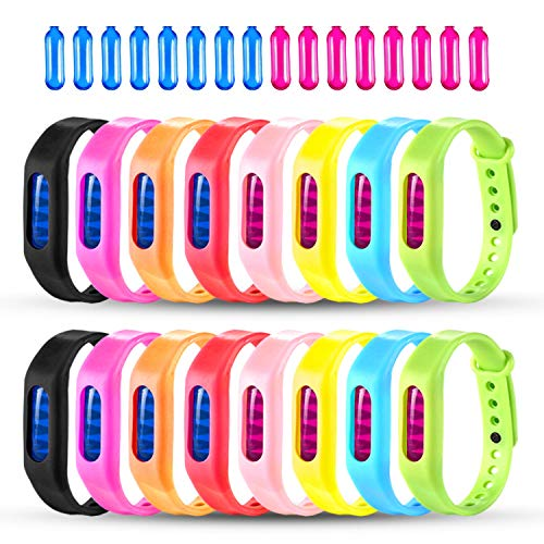 Mosquito Repellent Bracelet, 16 Pack 100% Natural Travel Insect Repellent Wristbands For Kids and Adults, Waterproof Bug Repellent Bands For Indoor and Outdoor Protection UP to 720Hrs (16 Repellents) by Skillink