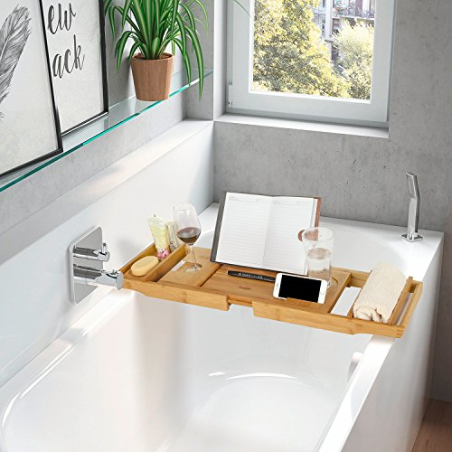 caddy reading bamboo bath bathtub non wine tub cellphone product with holder adjustable slip handcrafted rack tray and