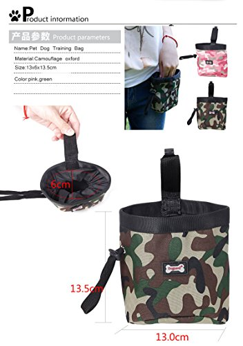 Xiaolanwelc@ Pet Dog Training Bags Camouflage Oxford Puppy Dog Food Treat Pockets Outdoor Walking Dog snack Reward Waist Bag Garbage Bag (Green)