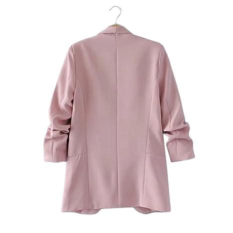 HeLov Women Plain Shawl Collar Lapel Blazer Long Sleeve ...