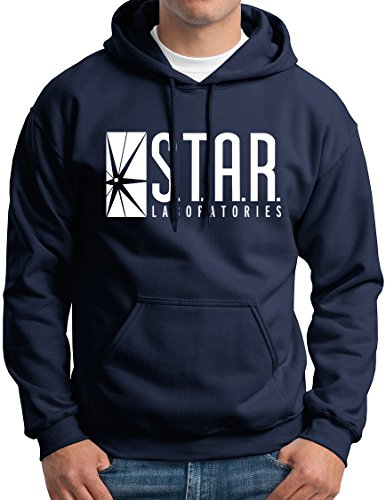 New York Fashion Police Star Labs Hoodie Star Laboratories Hooded Sweashirt Gift Navy XL