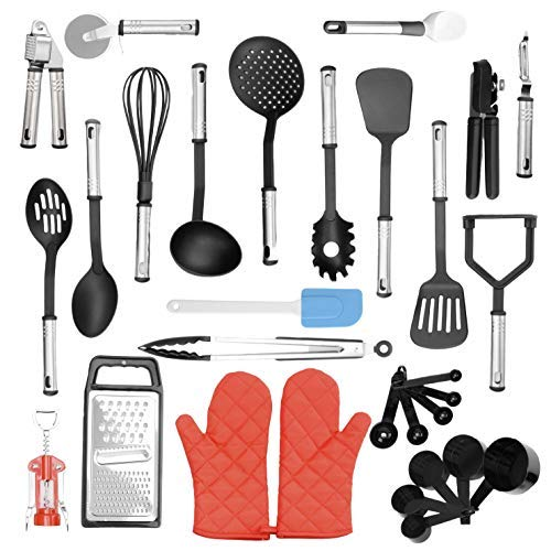 Eat n Go Kitchen Utensil Set | 29 Piece Bundle of Silicone Kitchen Accessories With Heat Resistant Handles  Pair of Cooking Mitt Gloves | Food Safe, Non-Stick Surfaces