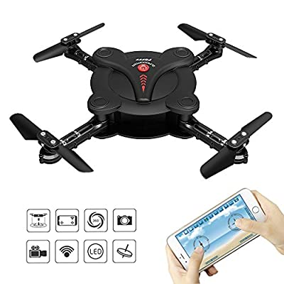RC Quadcopter Drone with FPV Camera Live Video - Flexible Foldable Aerofoils - Headless Mode & Track-controlled mode - App Control - Altitude Hold - 6-Axis Gyro Gravity Sensor RTF Helicopter, Black
