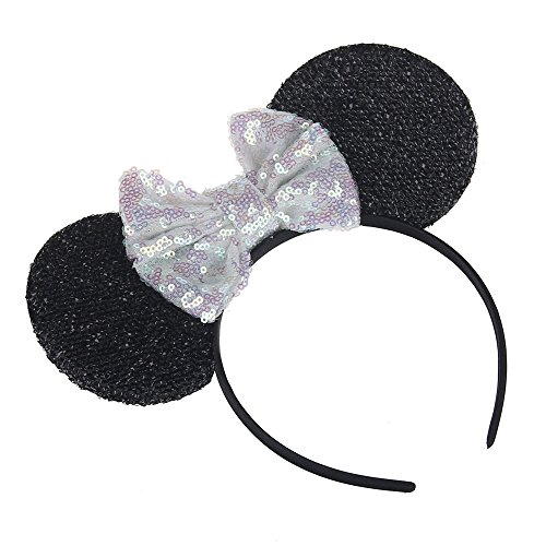 Kewl Fashion Sequins Bowknot Lovely Mouse Ear Headband Headwear for Travel Festivals (White)