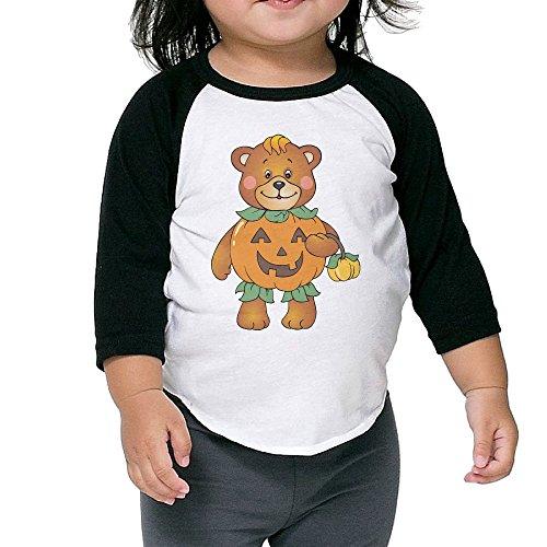 Caromn Kids Child Halloween Pumpkin Bear Baseball Jersey T-Shirt 5-6 Toddler (Lego Halloween Special)
