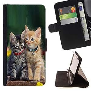 Momo Phone Case / Flip Funda de Cuero Case Cover - Gatito lindo del bebé del gato verde peludo mascotas - Samsung Galaxy A5 ( A5000 ) 2014 Version