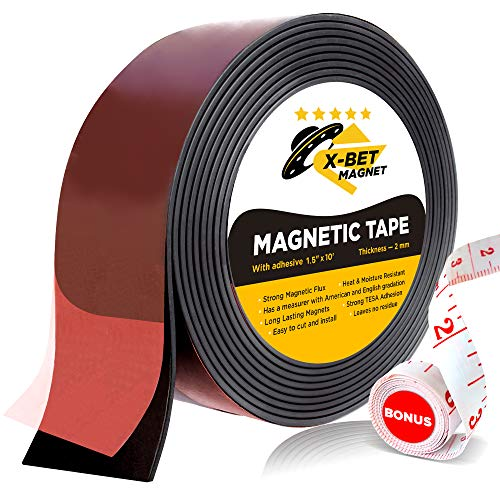 Flexible Magnetic Tape - Wide 1.5 Inch x 10 Feet Magnetic Strip with Strong Self Adhesive - Premium Magnetic Roll for DIY and Craft Projects - Sticky Magnets for Refrigerator - Magnets Bet