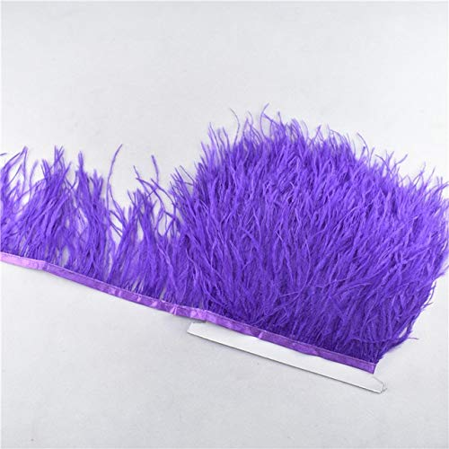 Maslin New Leather Pink Ostrich Feathers Trim 1yards 8-10cm Feathers for Crafts DIY Needlework Carnival Costume/Dress Decoration Plumas - (Color: Purple)