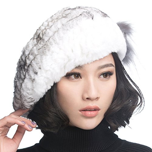 (URSFUR Winter Women's Rex Rabbit Fur Beret Hats with Fur Flower (White with Black)