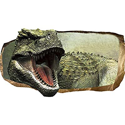 Mural Wall Art Startonight 3D Photo Decor Jurassic Dinosaur World III Amazing Dual View Surprise Large 32.28 inch By 59.06 inch Wall Mural Wallpaper for Living Room Kids Collection Wall Art