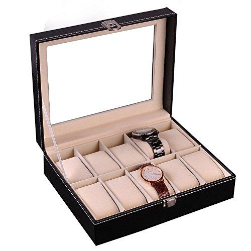 Gearmax® Uhrenkoffer Uhrenbox für 10 Uhren Aufbewahrungskiste Schmuckkasten Schmuckkoffer Schaukasten Anzeige Schmuck Schwarz Kunstleder PU Leder mit Glasfenster