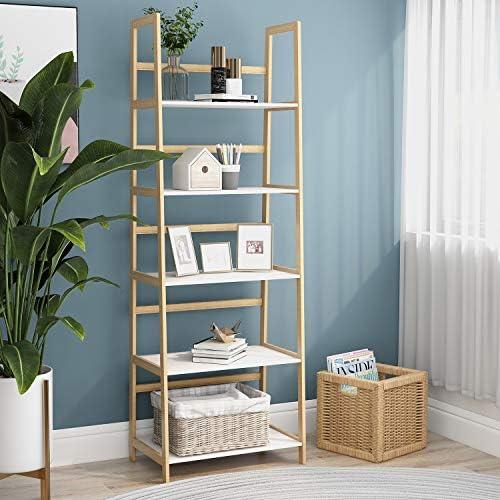 Editors' Choice: RASOO 5-Tier Bookshelf Wood Frame Tall Bookcase Ladder Shelf Storage Etagere Book Shelf Organizer