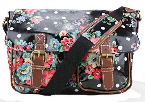 Miss Lulu Oilcloth Prints Satchel Messenger Shoulder School Bag (Flower Black)