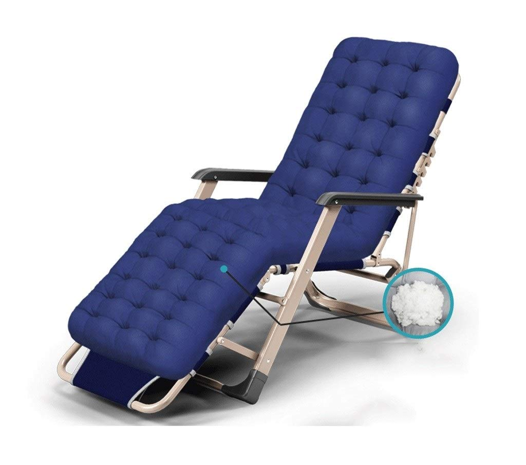 MAGFYLYDL Adjustment Lazy Chair,Dedicated Multi-Speed Portable Folding Leisure Back Sofa Recliner Lunch Break Siesta Bed Balcony Chair Beach Chair (Color : Pearl Cotton mat Navy) by MAGFYLYDL