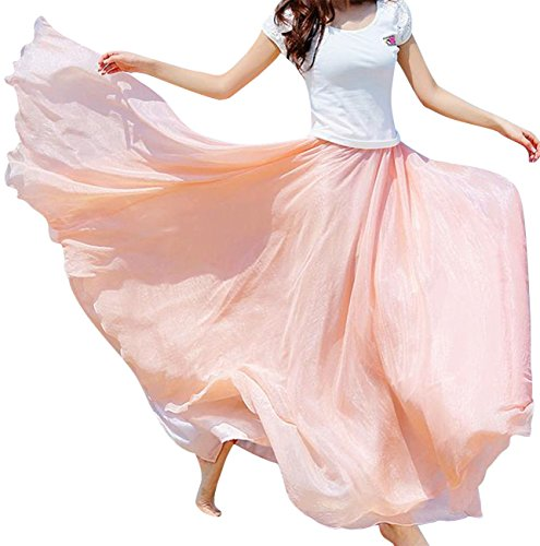 Aivtalk Women Bohemian Skirt Silk Chiffon Flowing Long Skirts Retro Crinkle Skirts Dress Pink One Size