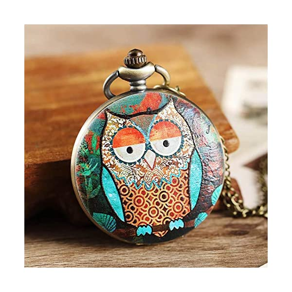 Culturemart Painted Printing Owl Pocket Watches Chains Quartz Personalised Pocket Watches Steampunk Men Women s Gifts Reloj De Bolsillo