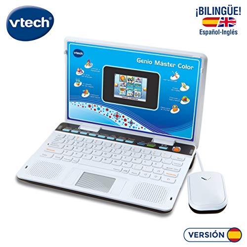VTech Genio Máster Bilingüe, Ordenador portátil para niños, Pantalla, enseña Vocabulario, matemáticas, Ciencias a través…