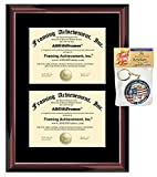 Double Diploma Frame - Premium Wood Glossy Traditional Mahogany - Single Black Mat - Dual Certificate Frame