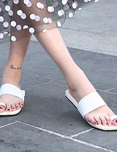 ShangYi Sandaletten für Damen Damenschuhe-Pantoffeln-Lässig-Kunstleder-Flacher Absatz-Zehenring-Schwarz / Weiß White
