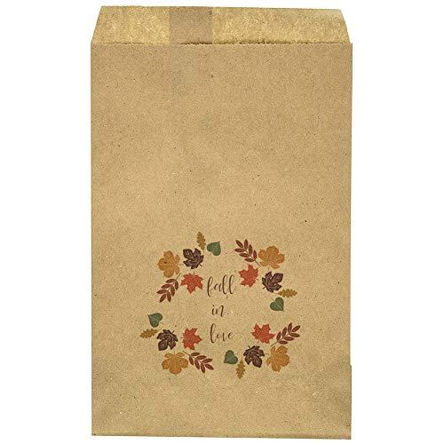 Wedding Favor Bag - Fall - Leafs - Fall in Love Wreath - Candy Bar - Treat Table - Candy Buffet - 9.25