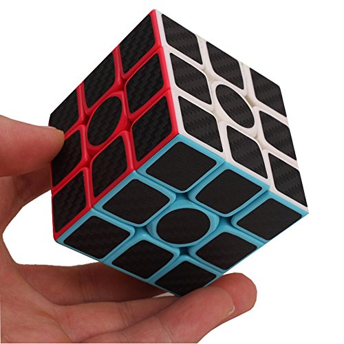 Rubiks Cube Original 3x3 Puzzle (Professional Speed Magic Cube Carbon Fibre Stickers 3x3, Black by e-smart home)