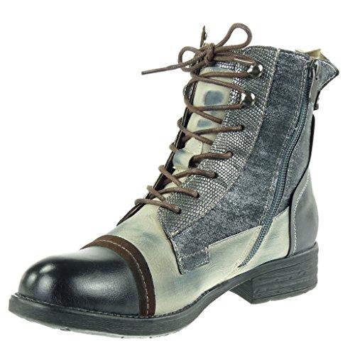 Kampfstiefel CM Schuhe Booty 3 Grau Angkorly Heel Block Biker Damenmode glänzend Ankle Boots Schlangenleder XwqZB6a