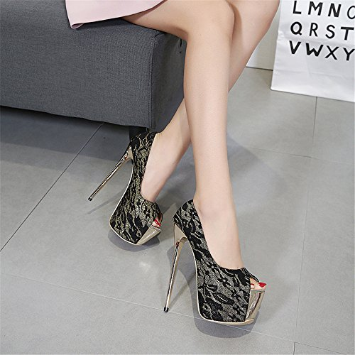 Lace Party Evening Womens Sandals Out Black Shoes Ladies up Size Strappy Cut high Heel Sandals Prom qwnIwUx74R
