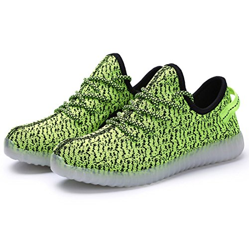 Sidiou Groupe Unisexe Couple Allumer Les Formateurs 7 Couleurs Usb Charge Lumineuses Sneakers Lacer Les Chaussures Led (vert, 6.5uk = 40eu)