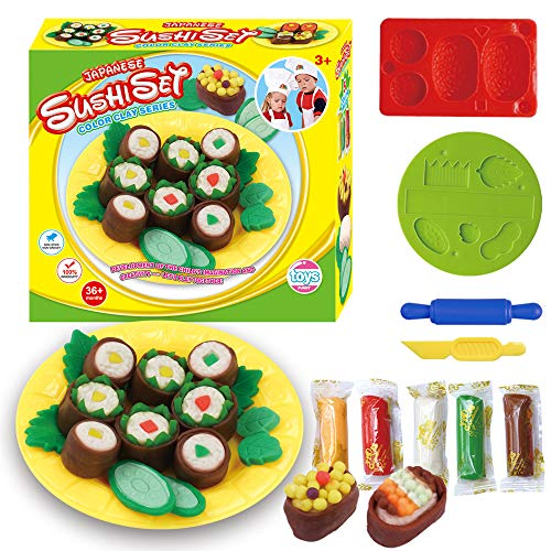 Fantarea Colour Dough Color Clay Plasticine Sushi Pretend Kitchen Playset Model Tool Accessories Mould Kit Education Toys for Kid Girls Boys 5 6 7 8 Years - 5 Model Kit