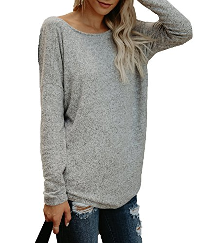 Blouse Haut Irrgulier Dos Manches Gris Longues Shirts Tunique Clair Rond Tops Col Nu Fashion Chemisiers Sexy Femmes 6PxUwqd1W1